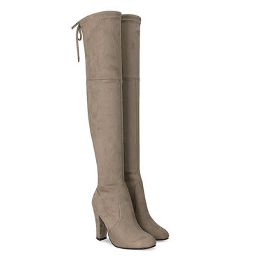 Khaki Suede Heel Over The Knee Boots
