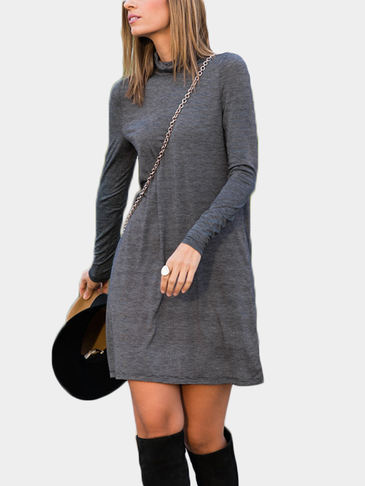 High Neck Long Sleeves Mini Dress