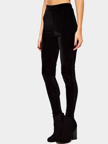 Black Velvet Stretch Leggings
