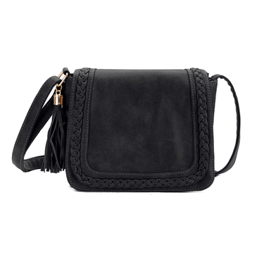 Black Tassel Embellished  Shoulder Bag with Magnetic Closure