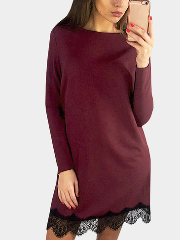 Burgundy Casual manga larga cuello redondo Lace Hem T-shirt Dress