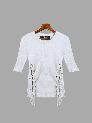 Crew Neck Plain Color Cross Lace-up Details T-shirt