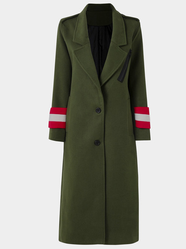 Army Green Lapel Collar Maxi Trench Coat With Shoulder Board