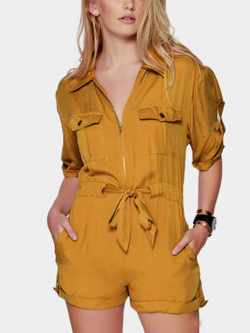 Yellow Short Sleeve Drawstring Brigadier Playsuit with Acute Collar