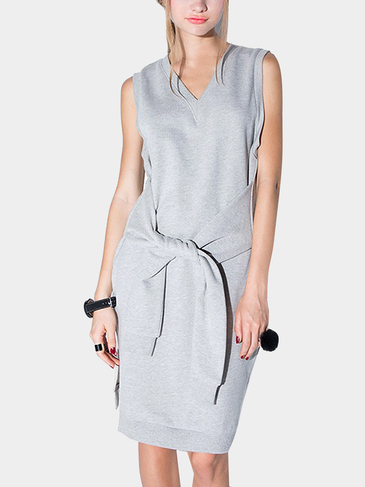 Sleeve Tie V Neck Sleeveless Sweatshirt Dress