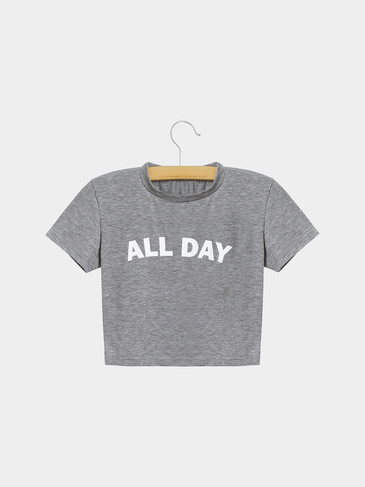 Grey Round-neck Short Sleeve Cropped T-shirt