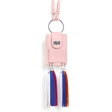 Pink Fashion Leather Look Phone Bag With Multi-colored Tassels