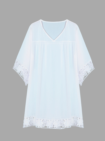 White Sheer Lace Beach Cover Up