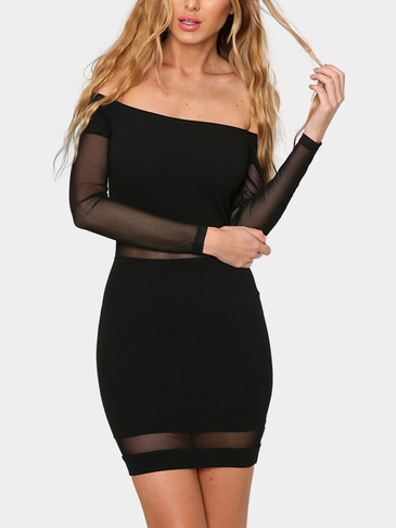 Black Off Shoulder Sheer Mesh Mini Dress with Long Sleeves