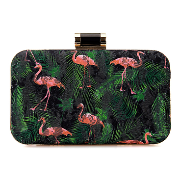Red-Crowned Crane Occasion Box Clutch Bag in Black