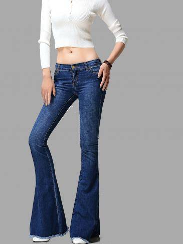 Blue Skinny Flared Jeans With Raw Hem