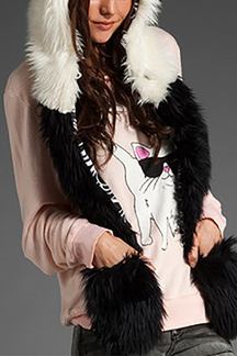 Panda Faux Fur Animal Hat With Scarf