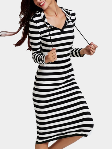 Casual Stripe Midi Dress With Hood