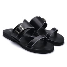 Black Leather Look Pin Buckle Strap Simple Style Flat Slippers