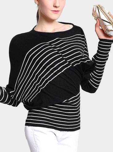 Black Stripe Batwing Asymmetric Sweater