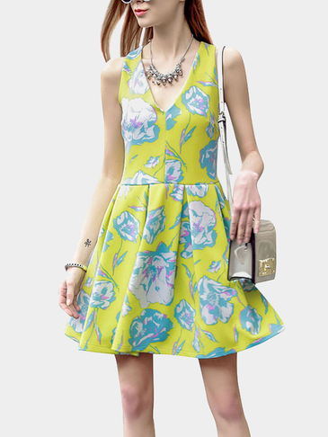 Floral Print Dress With Crossed Back