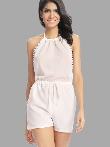 See-through White Halter Neck Backless Drawstring Waist Lace Playsuit