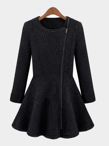 Black Flounced Hem Wool Duster Coat
