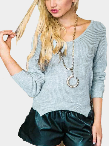 Gray V Neck Long Sleeve Sweater with Side Split