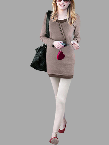 Brown Button Front Round Collar Skinny Dress