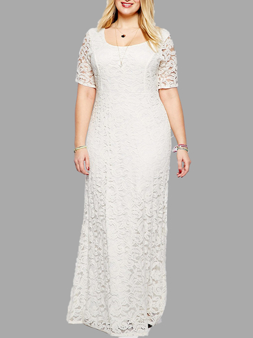 Plus Size White Floral Lace Maxi Dress