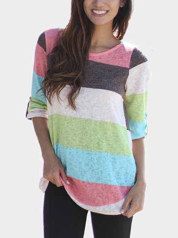 Multi Color Random Stripe Pattern Curved Hem Shirt