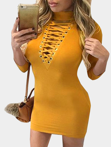 Yellow High Neck Long Sleeves Hollow Lace-up Bodycon Mini Dress