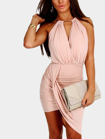 Sexy Bodycon Gold Halterneck Asymmetric Drape Dress in  Nude Pink