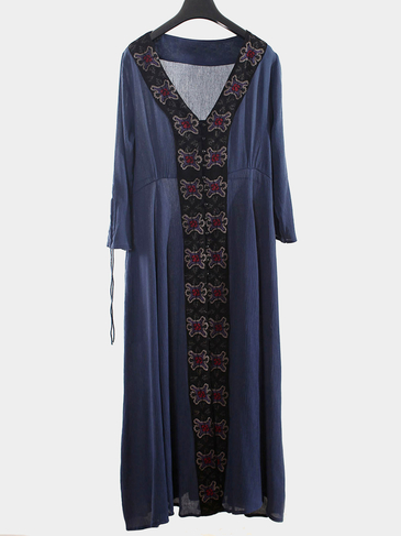 Navy V Neck Maxi Dress with Embroidery