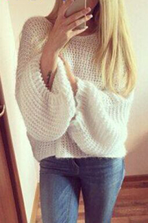 White Casual Pullover Bat Sleeves Loose Jumper