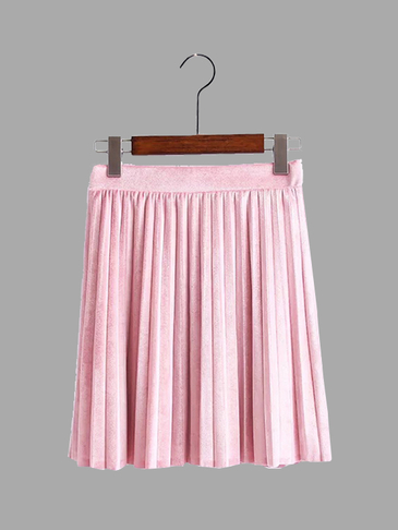 Pink Velvet Mini Pleated Skirt