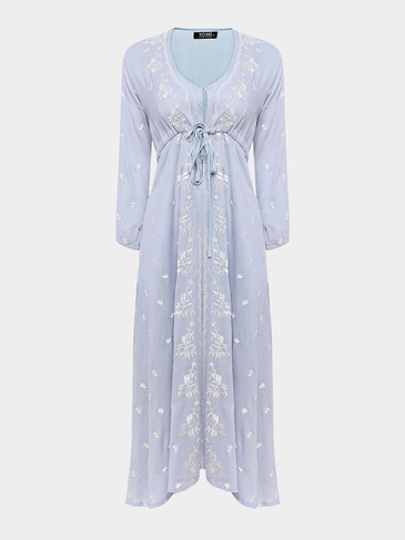 Random Floral Embroidered Maxi Dress in Baby Blue