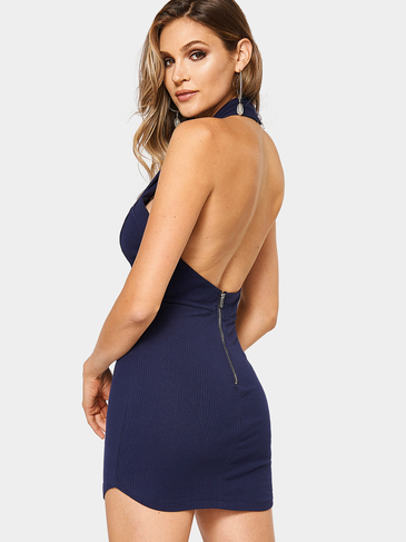 Платье Halter Cross Front Backless Mini Dress