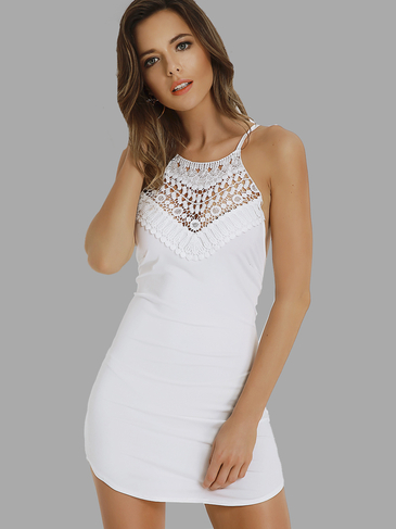White Halter Neck Lace Mini Bodycon See-Through Dress with Cross Back