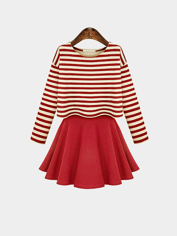 Red Striped Long Sleeve Top With Cami Dress Set