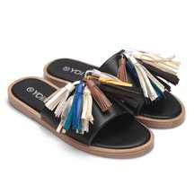 Black Leather Look Flat Slippers With Multi-colored Tassel