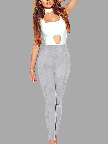 Grey Fashion Suede Bodycon Pants