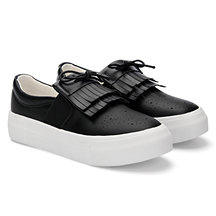 Black Leather Look Slip-on Casual Mocasines con detalle de borla