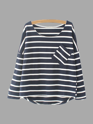 White Stripe Pattern Loose Fit T-shirt