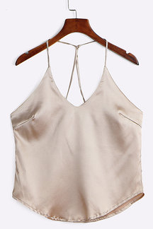 Khaki Sleeveless V-neck Top