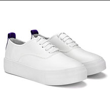 White Casual Leather Look Round Toe Lace-up Sneakers