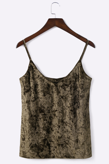 Coffee Sexy Velvet V Neck Sleeveless Camis
