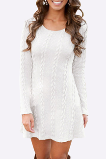 White Cable Knit A-line Dress