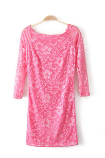 Pink Off Shoulder All Over Lace Dress