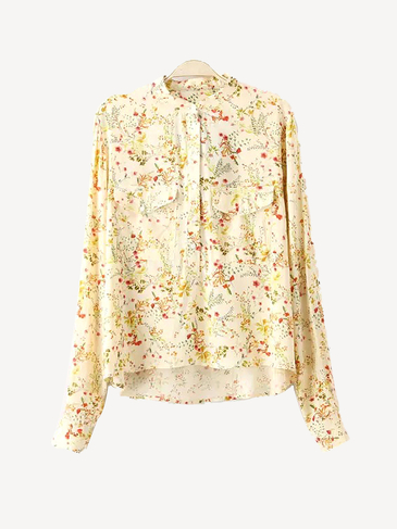 Crew Neck Long Sleeve Floral Print Shirt
