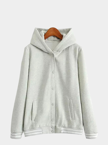 Snap-button Varsity-stripe Hoodie in Grey
