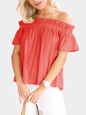 Off-The-Shoulder Frill Design Top in Rust