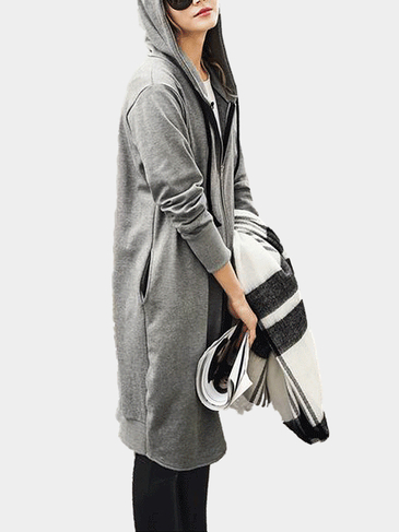 Grey Longline Zip Front Plus Size Coat