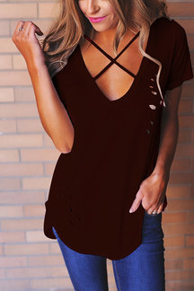 Burgundy Cross Strap Front Ripped T-shirt With Short Sleeves
