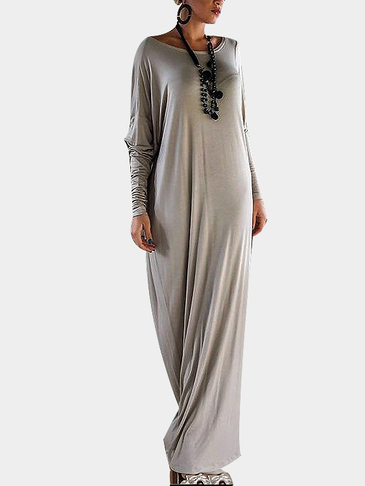 Khaki Long Sleeve Loose Fit Asymmetric Maxi Dress